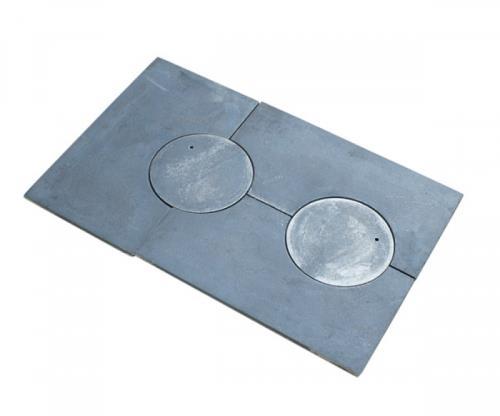 gussplatte zum ofen 2 loch noten k che gusseisen grauguss 72x46cm 3tlg cast iron ebay. Black Bedroom Furniture Sets. Home Design Ideas