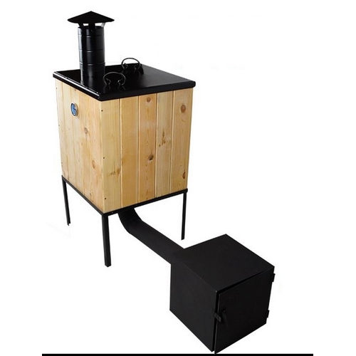 r ucherofen mit kamin traditioneller r ucherofen aus holz mit feuerkammer mobil ebay. Black Bedroom Furniture Sets. Home Design Ideas